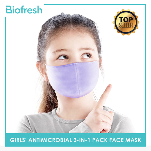 Biofresh RGMASK Girl Children's Washable Anti-Microbial Face Masks 3-in-1 pack