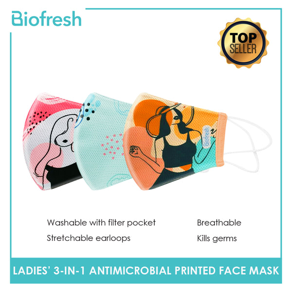 Biofresh RLSMASK  Ladies' Washable Anti-Microbial Printed Face Mask 3 pcs in a pack