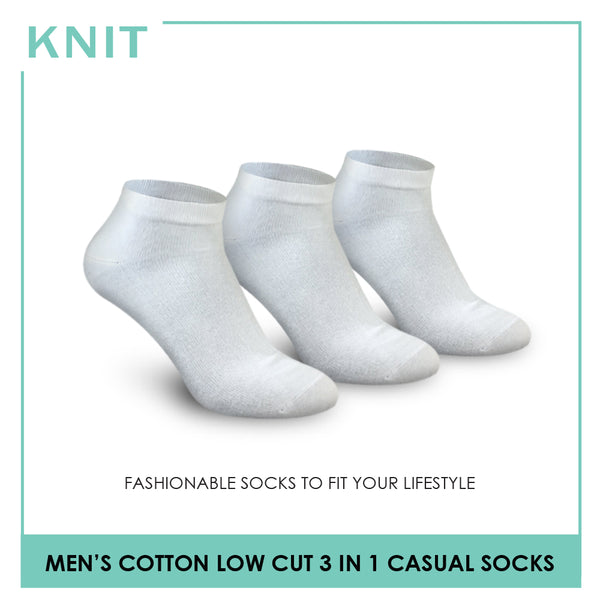 Knit KMCG8 Men's Cotton Low Cut Casual Socks 3-in-1 Pack