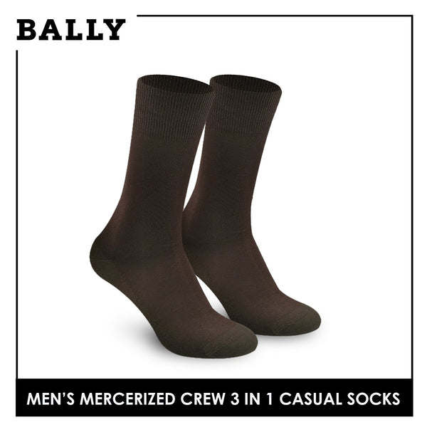 Bally YMMKG4 Men's Mercerized Crew Dress Casual Socks 3 pairs in a pack