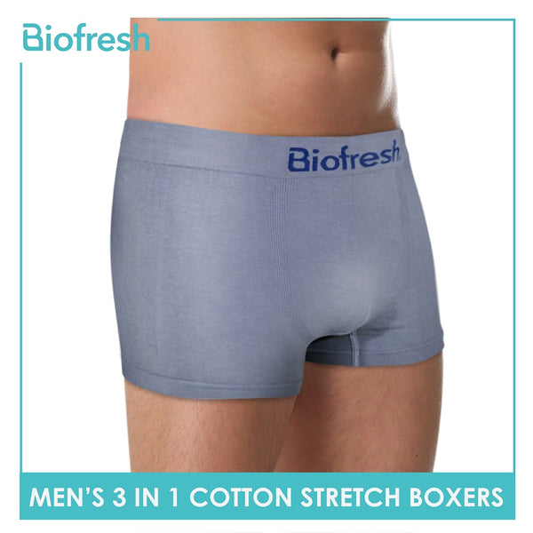 Biofresh UMBBG21 Men's Cotton Stretch Boxer Brief 3 pieces in a pack