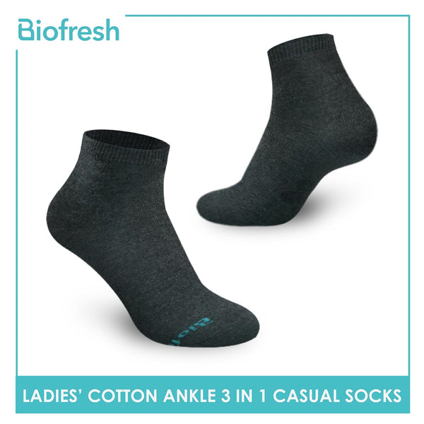 Biofresh RLCKG32 Ladies Cotton Ankle Casual Socks 3 pairs in a pack