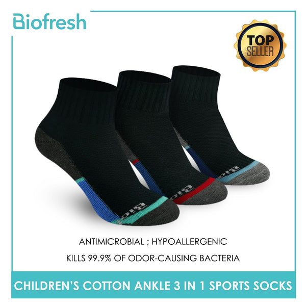 Biofresh RBSKG35 Children's Thick Cotton Ankle Sports Socks 3 pairs in a pack