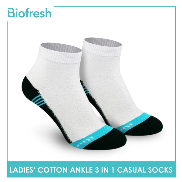 Biofresh RLCKG35 Ladies Cotton Ankle Casual Socks 3 pairs in a pack