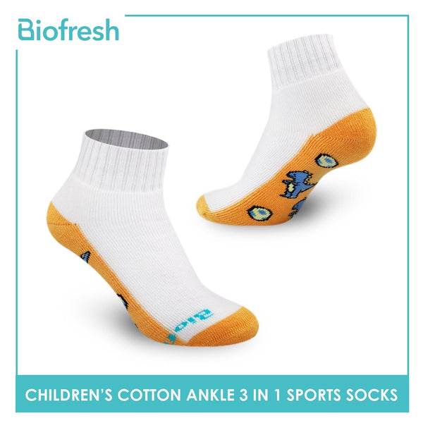 Biofresh RBSKG36 Children's Thick Cotton Ankle Sports Socks 3 pairs in a pack