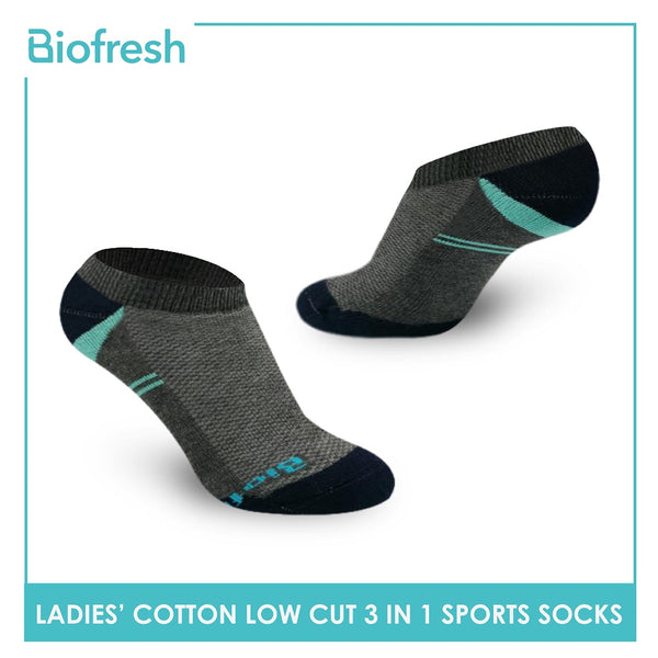 Biofresh RLSKG23 Ladies Cotton Low Cut Sport Socks 3 pairs in a pack