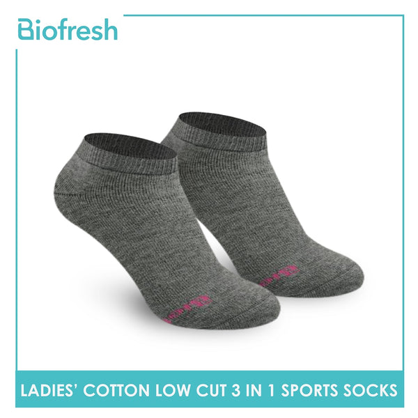Biofresh RLSKG22 Ladies Thick Cotton Low Cut Sports Socks 3 pairs in a pack