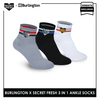 Burlington SFBMCEG1104 Mens' Cotton Lite Casual Ankle socks X Secret Fresh Pack of 3