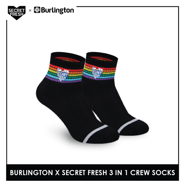 Burlington SFBMCEG1107 Mens' Cotton Lite Casual Ankle socks X Secret Fresh Pack of 3
