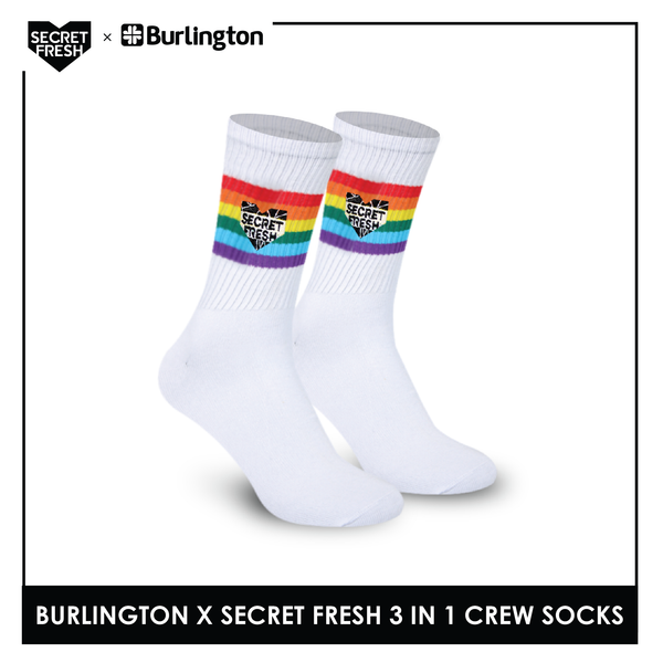 Burlington SFBMCEG1108 Mens' Cotton Lite Casual Crew socks X Secret Fresh Pack of 3
