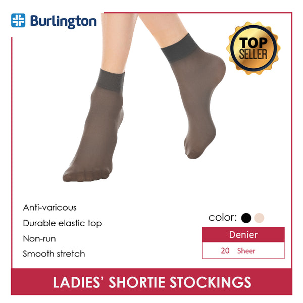 Burlington STN78G Ladies' Shortie 20 Denier Stockings 3 pairs in a pack