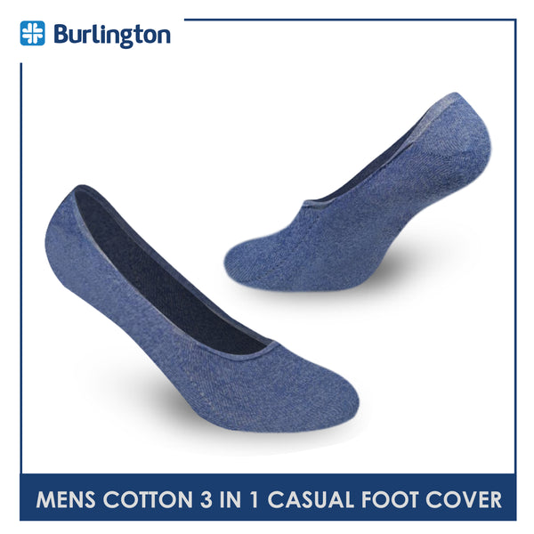 Burlington BMFCG4 Men's No Show Casual Socks 3-in-1 Pack