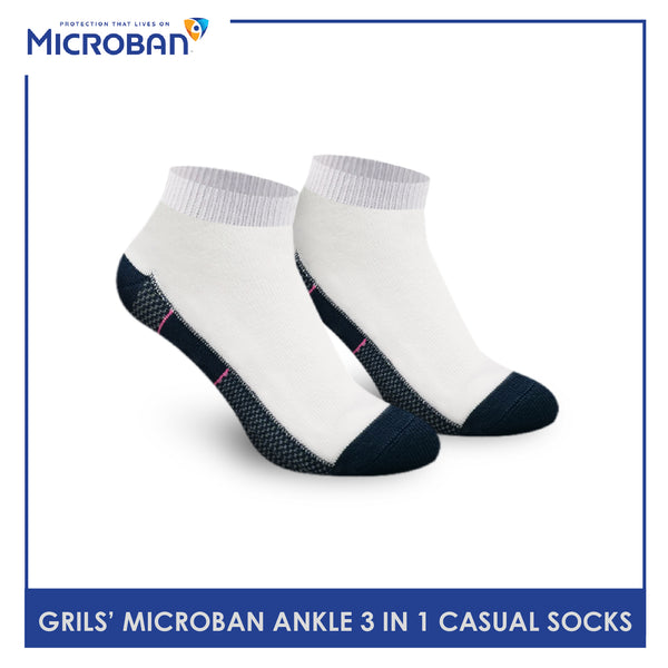 Microban VGCKG12 Girl Children's Cotton Ankle Casual Socks 3 pairs in a pack