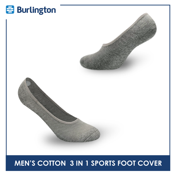 Burlington BMFCSG2 Men's Thick Cotton No Show Sports Socks 3 pairs in a pack
