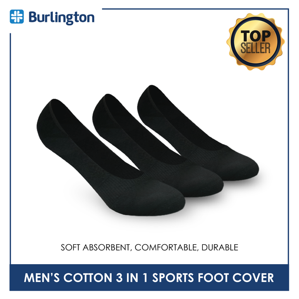 Burlington BMSFG3 Men's Thick Cotton No Show Sports Socks 3 pairs in a pack