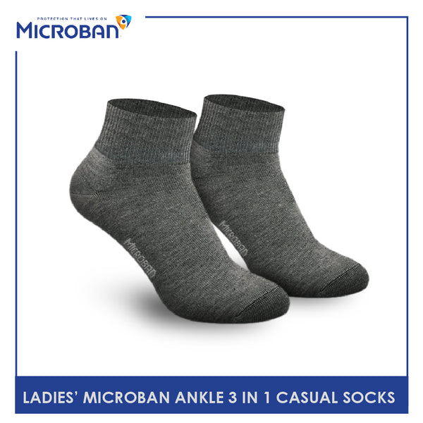 Microban VLCKG13 Ladies Cotton Ankle Casual Socks 3 pairs in a pack