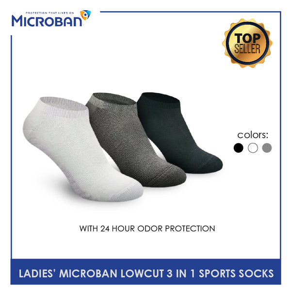 Microban VLSKG4 Ladies Thick Cotton Low Cut Sports Socks 3 pairs in a pack