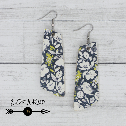 blue floral cork earrings