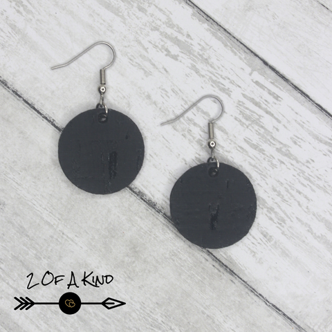 black cork leather earrings circles