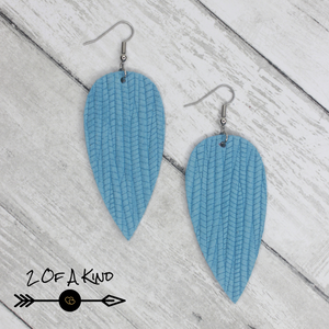blue textured leather earrings