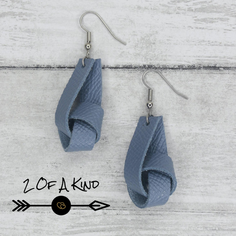 blue knot leather earrings