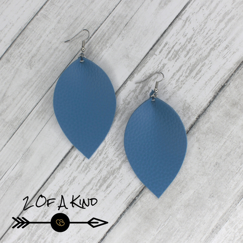 blue leaf leather earrings