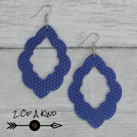 blue patterned leather earrings
