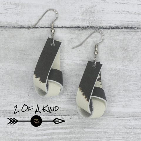 brown and cream knot leather earrings