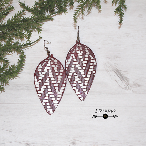 Burgundy White Chevron Folded Leaf