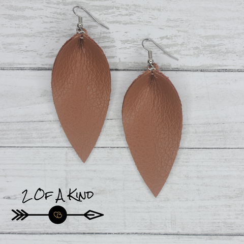 camel pinched leaf leather earrings