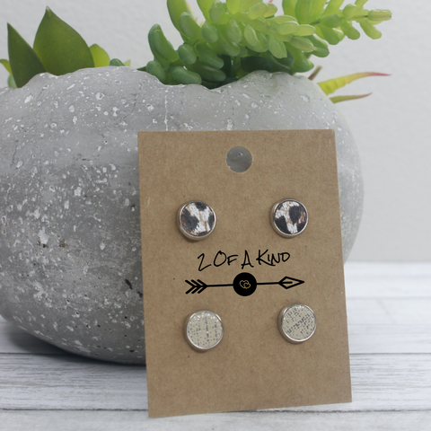cheetah and cream leather earring stud set