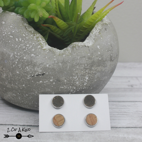 cork leather stud earrings