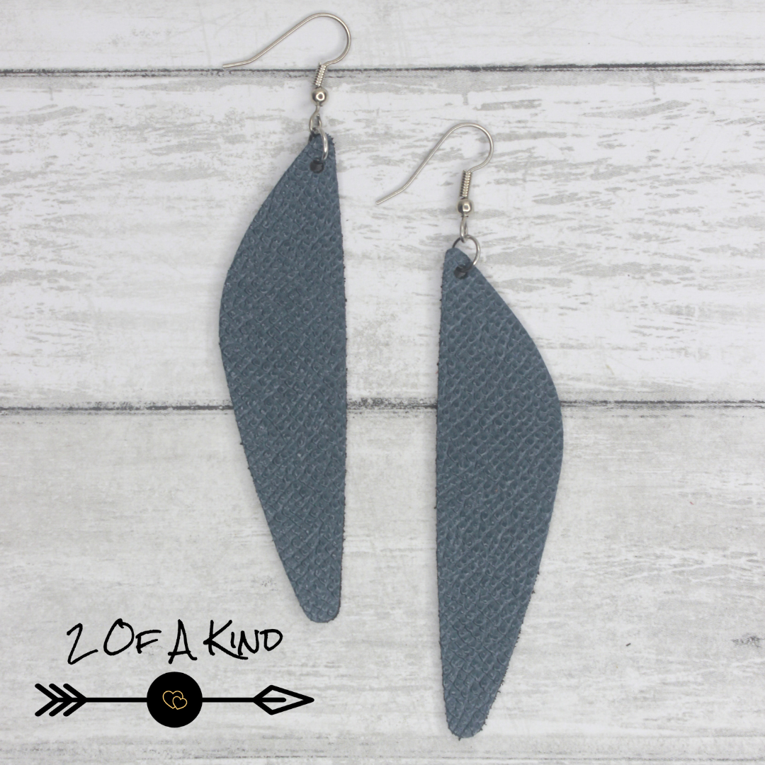 teal long leather earrings