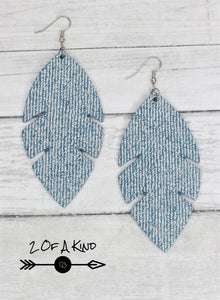 denim leaf leather earrings