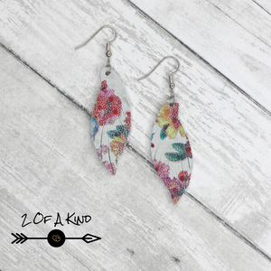 floral leather earrings