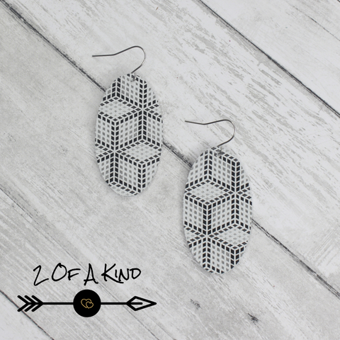 patterned leather earrings