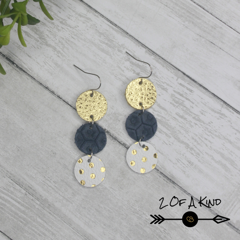 triple dot leather earrings