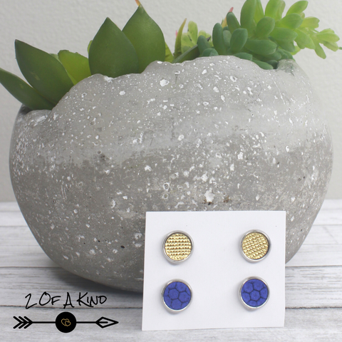 blue gold leather stud earrings