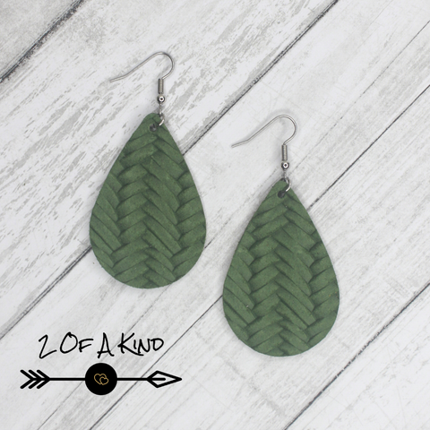 green braid leather earrings