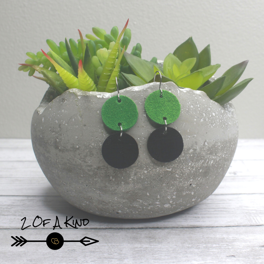 green leather earrings