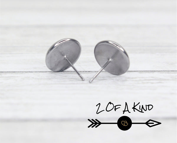 gray stud leather earrings