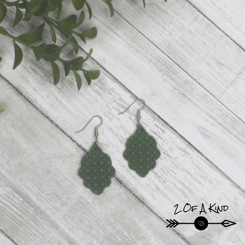 scallop leather earrings