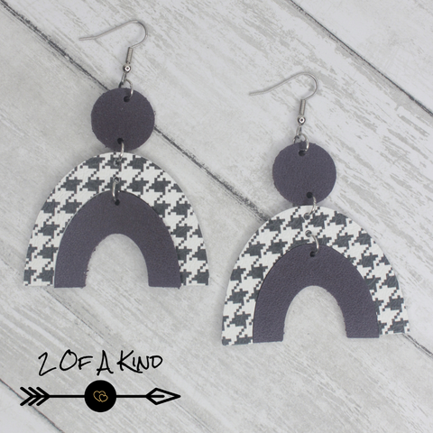 houndstooth leather earrings
