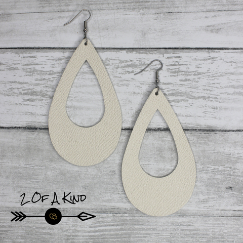 ivory teardrop leather earrings