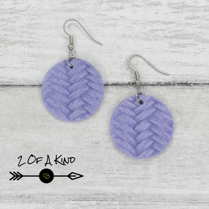 lavender circle leather earrings