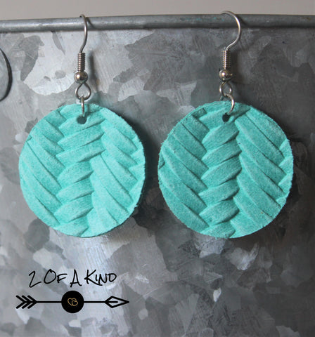 teal circle leather earrings