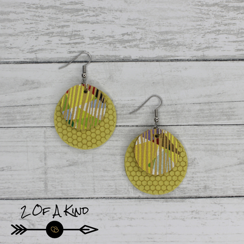 Yellow textured leather earrings