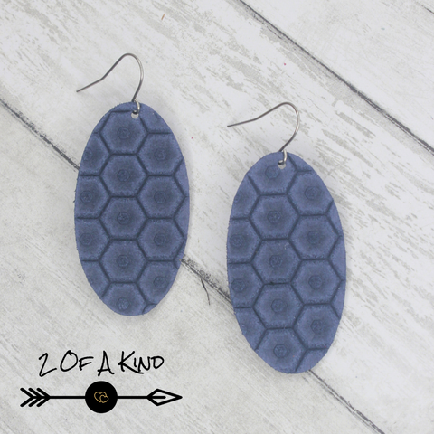 navy honeycomb leather earrings