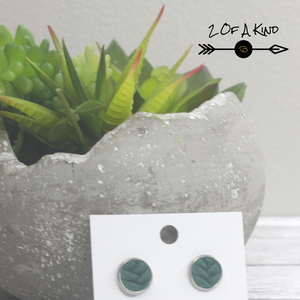 green stud leather earrings