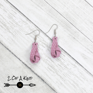 pink knot leather earrings